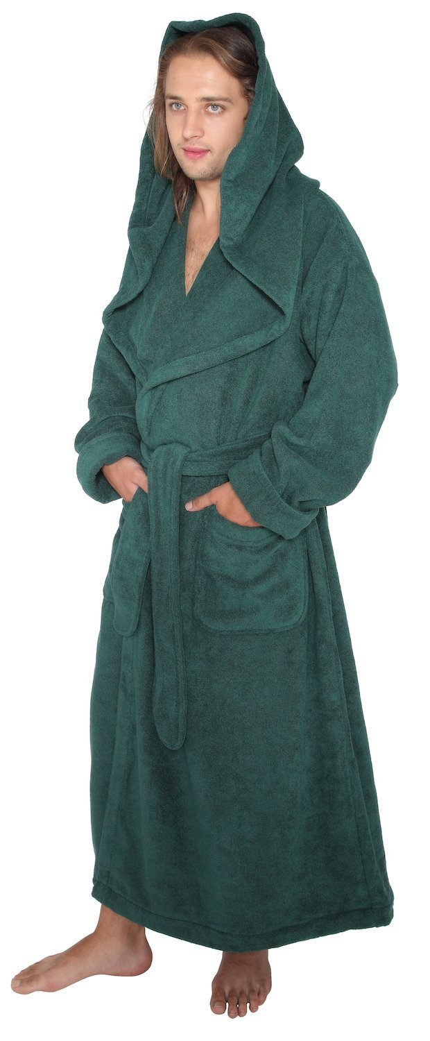 Arus Men's Monk Robe Style Full Length Long Hooded Turkish Terry Cloth Bathrobe, X-Large, Hunter Green