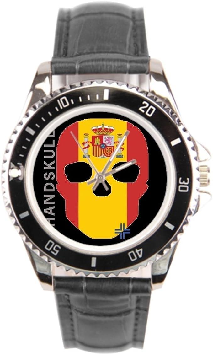 findself Handskull España de Bandera de Hombre Correa de Piel Reloj Reloj de Pulsera: Amazon.es: Relojes