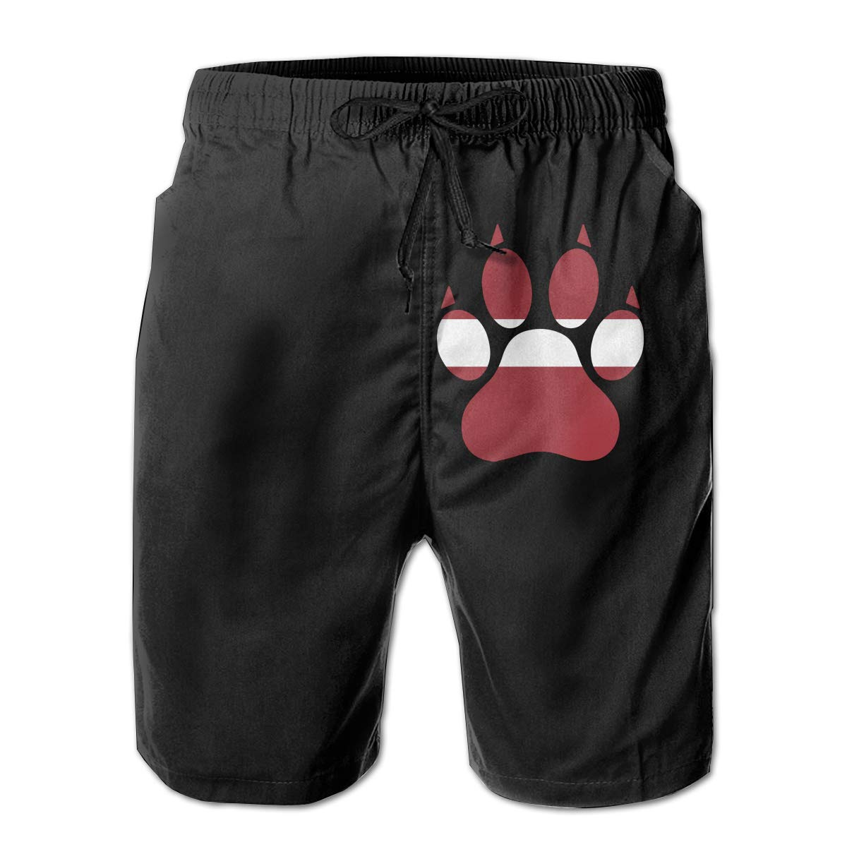 3D Printed Board Shorts with Pockets Mens 100/% Polyester Latvia Dog Paw Swim Trunks