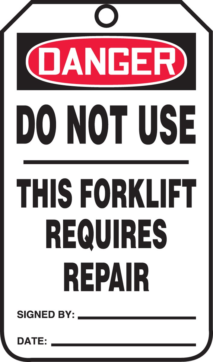 Accuform TRS338CTP PF-Cardstock Safety Tag, Legend DANGER DO NOT USE THIS FORKLIFT REQUIRES REPAIR, 5.75'' Length x 3.25'' Width x 0.010'' Thickness, Red/Black on White (Pack of 25)
