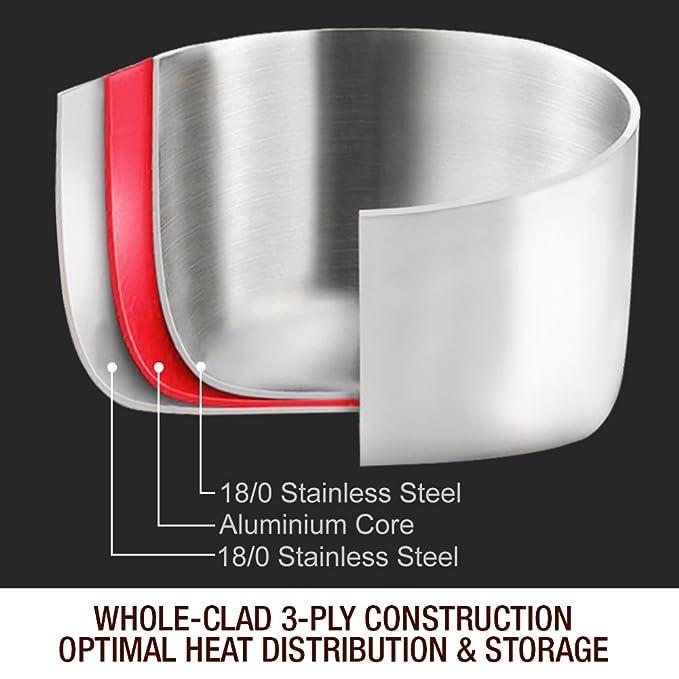 Homi Chef espejo libre de níquel pulido acero inoxidable 6 Qt olla ...