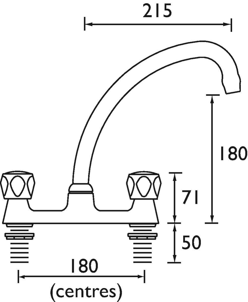 Bristan VAC-jarretelles pour BDSM//C MT Club Budget Deck Mitigeur lavabo chrom/é avec t/êtes en m/étal