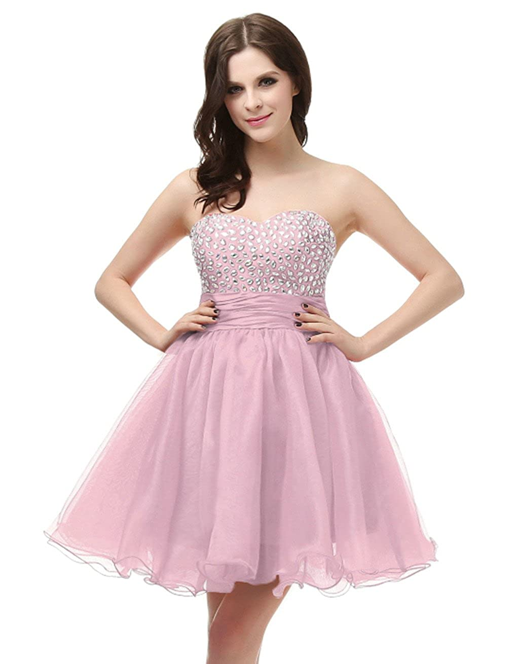 Pink Vantexi Women's Strapless Short Prom Homecoming Dress Party Gown