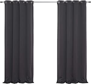 "Best Home Fashion Premium Thermal Insulated Blackout Curtains - Antique Bronze Grommet Top - Dark Grey - 52"" W x 120"" L - (Set of 2 Panels)"