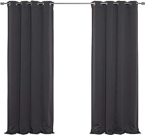 Best Home Fashion Premium Thermal Insulated Blackout Curtains - Antique Bronze Grommet Top - Dark Grey - 52