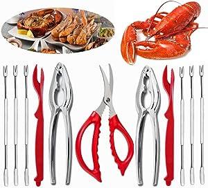 ESOOEY 11Pcs Seafood Tools Set Crab Lobster Crackers Stainless Steel Seafood Crackers & Forks Cracker Opener Shellfish Lobster Crab Leg Sheller Nut Crackers
