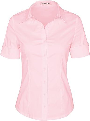SUNNOW - Camisa de manga corta para mujer - Rosa - X-Large: Amazon.es: Ropa y accesorios