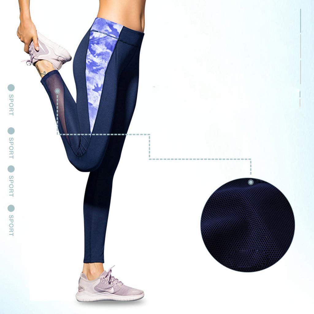 Cealu Womens Yoga Pants Fitness Compression Leggings High Waist Workout Trousers Quick Dry Tights Pants