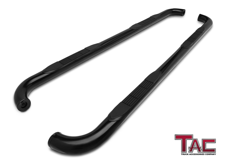 TAC Side Steps Fit 2002-2008 Dodge Ram 1500 Quad Cab / 2003-2009 Dodge Ram 2500/3500 Quad Cab Truck Pickup 3'' Black Side Bars Nerf Bars Running Boards Exterior Accessories (2PCS)