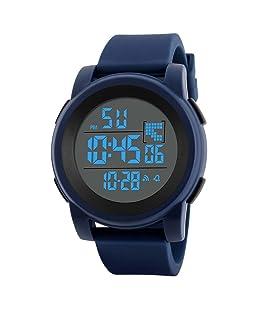 Siviki Watch, Luxury Men Analog Digital Military Army Sport LED Waterproof Wrist Watch (Blue)