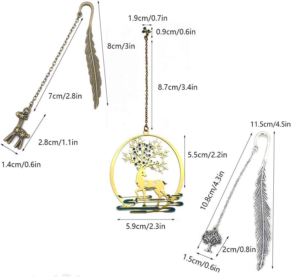 segnalibri piuma vintage rame Segnalibro cervo pendente con confezione regalo Segnalibro grazioso per lettore Segnalibro Personalizzato 3 pezzi