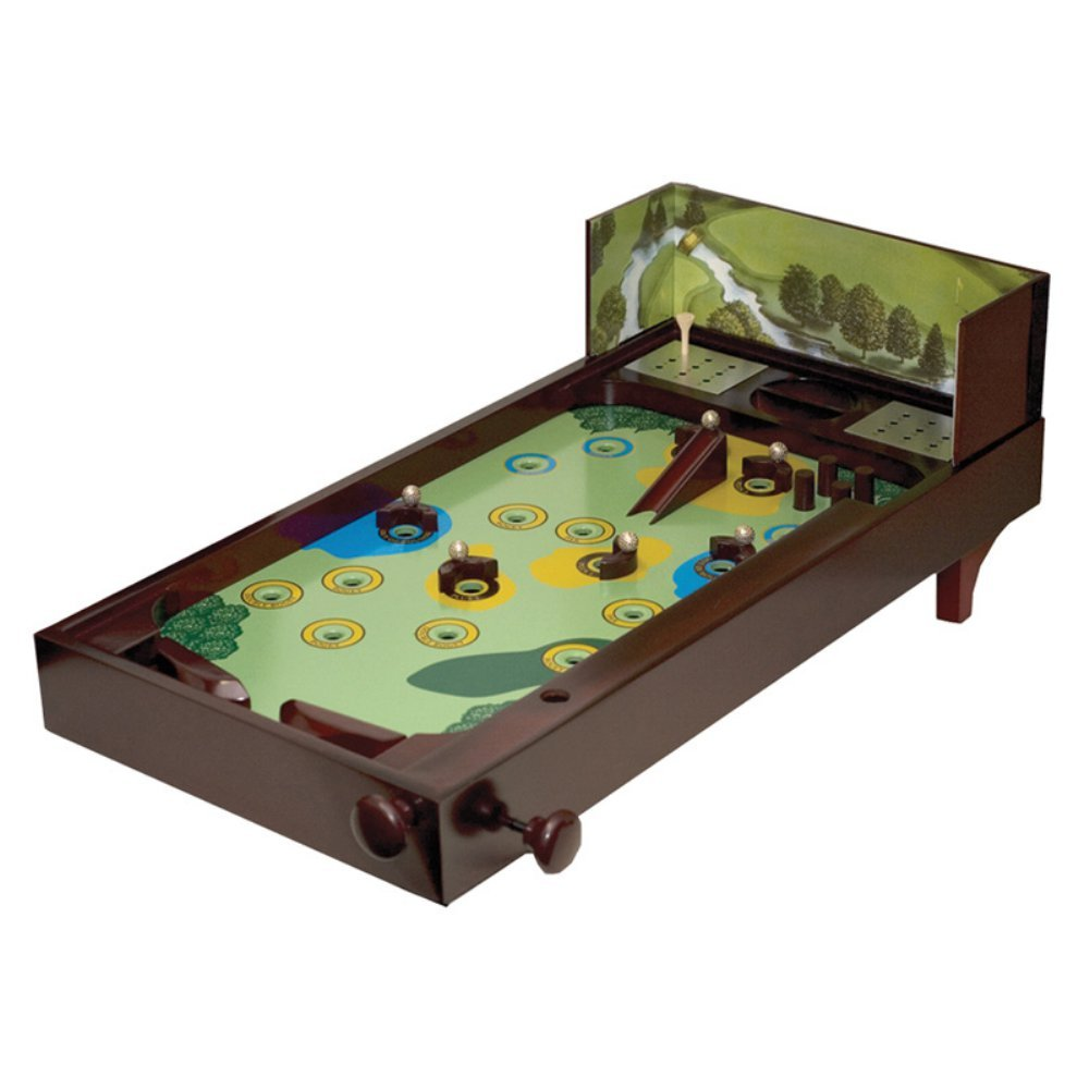 Wooden Golf Recreational Desktop Pinball Game Decor Display, Brown