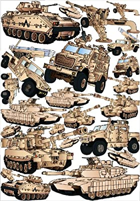 24 Military Tank Wall Decals Stickers and Armored Trucks Wall Decals