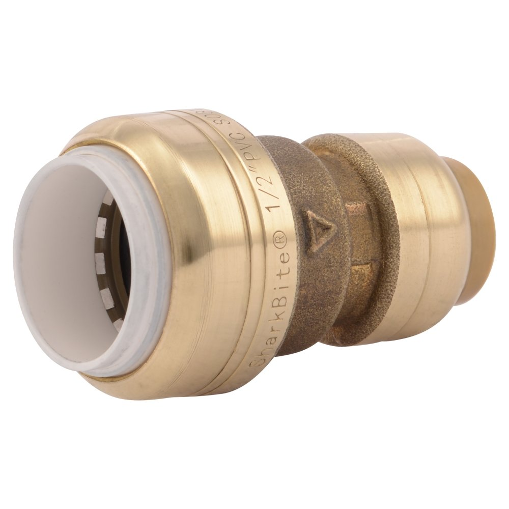 SharkBite PVC Fitting UIP4008A ½ inch X ½ inch CTS, PVC Connector to Copper, PEX, CPVC, HDPE or PE-RT for Potable Water
