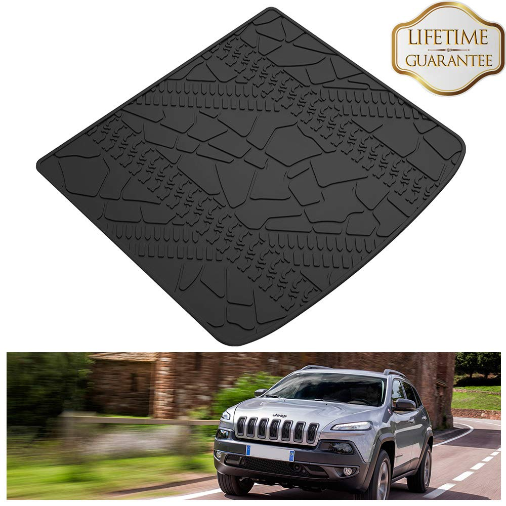 KIWI MASTER Cargo Liner Compatible for 2014-2018 Jeep Cherokee Cargo Mats Black All Weather Protector