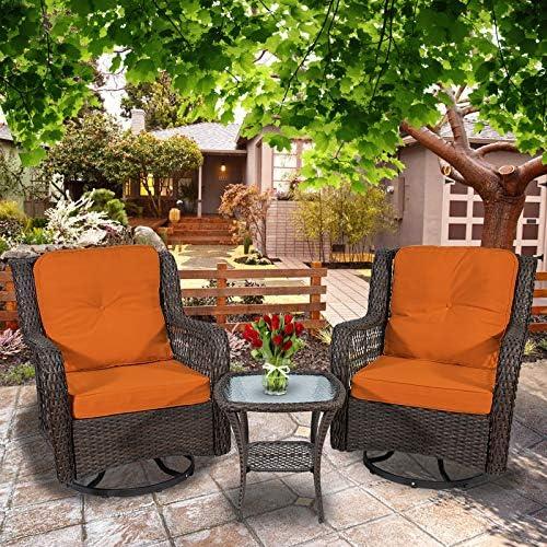 3-Piece Patio Furniture Wicker Rocker Swivel Chairs Outdoor Bistro Set