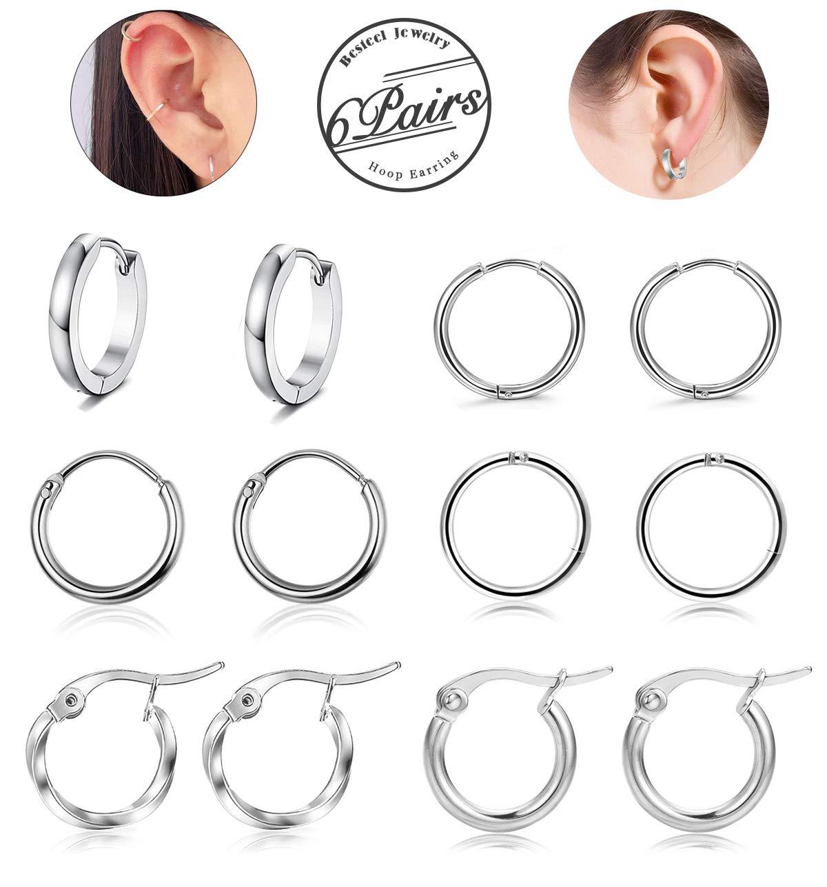 Besteel 6 Pairs Stainless Steel Hoop Huggie Earrings for Women Men Cartilage Earring Set