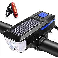 KIICN Luz de bicicleta para farol de bicicleta, carregamento duplo USB e solar, conjunto de luz frontal e traseira super…