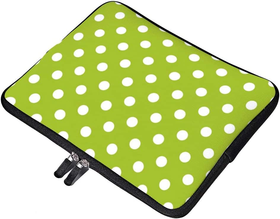 Seamless Spring Green Pattern and White Polka Dots Laptop Sleeve for MacBook Air//MacBook Pro Compatible with 17 Inch Notebook Two-Way Zippers Laptop Carry Bag Case Cover