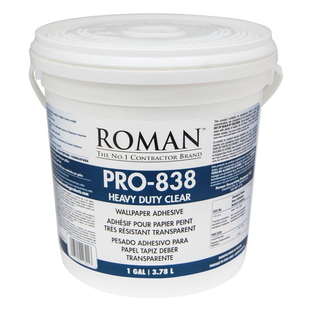 Roman 011301 PRO-838 1 gal Heavy Duty Wallpaper Adhesive, Clear by Roman