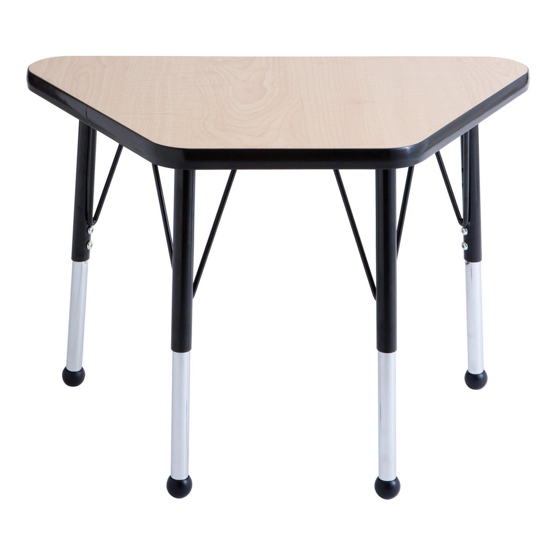 ECR4Kids T-Mold 18'' x 30'' Trapezoid Activity School Table, Standard Legs w/ Ball Glides, Adjustable Height 19-30 inch (Maple/Black)