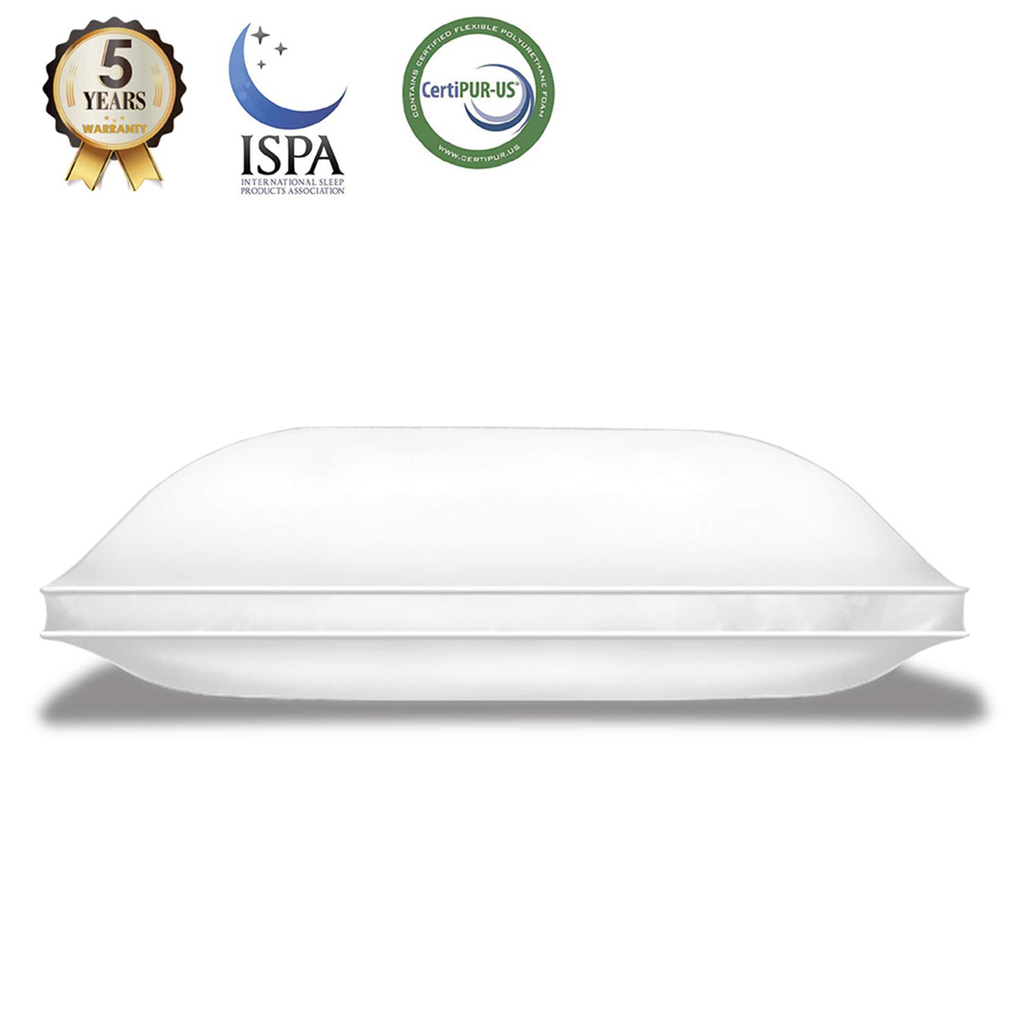 Lunvon Queen Adjustable Shredded Gel Memory Foam Home Bed Pillow for Sleeping Luxury Ventilated Washable Cooling Hypoallergenic Cotton Cover Protector CertiPUR-US Certification for Your Health, White