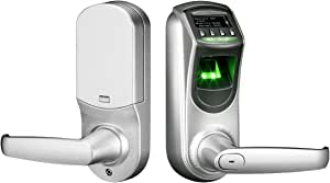 ZKTeco Fingerprint Biometric Door Lock Keyless Smart Locks with Keypad Visual Menu Display Support Unlocking Records Tracking & User Data Backup Security