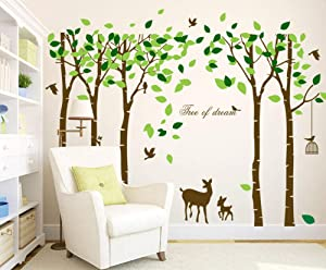 Mix Decor Tree Wall Decal - 5 Trees Wall Sticker Large Family Forest Deer Woodland for Livingroom Kid Bay Nursery Room Decoration Gift,Coffee + Green