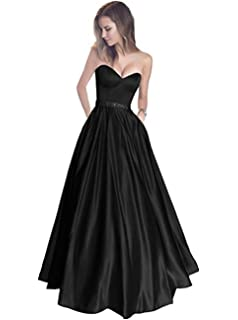 The Peachess Womens Sweetheart Strapless Beaded Belt Long Satin Prom Dress with Pockets