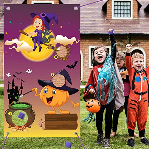 Outdoor Halloween Games For Kids (Happy Storm Halloween Toss Game Halloween Party Games for Kids Adults Family Outdoor Party Activities Pumpkin Witch Toss Game with 3 Bean Bag)
