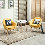 Yellow Accent Chair Magshion 2 Pcs Elegant Upholstered Fabric Club Chair Accent Chair W/ 2 Free Pillows (Yellow)