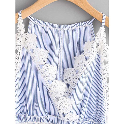 SKY Mujer La Sra rayas chaleco del cordón de la camisa Lace Casual Sleeveless Crop Top Vest Tank Shirt Blouse Cami Top Azul