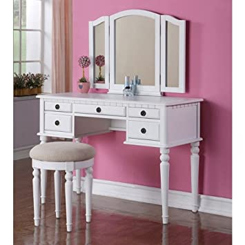 Great 1PerfectChoice Tri Folding Mirror Vanity Set Makeup Table Dresser W/ Stool  5 Drawer White Wood