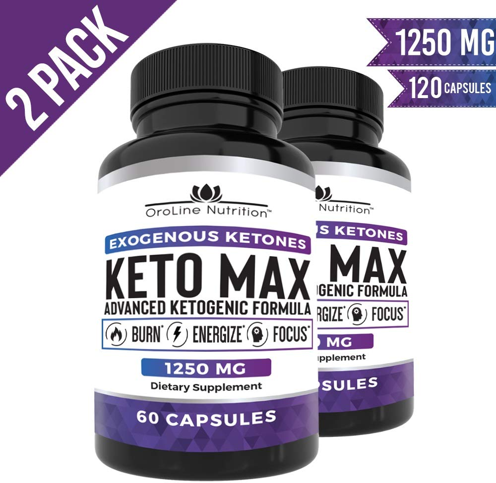 Keto Pills - (2 Pack | 120 Capsules) Advanced Keto Burn Diet Pills with MCT Oil Powder - Best Exogenous Ketones BHB Supplement by OroLine Nutrition