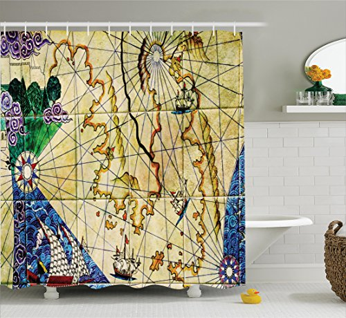 treasure map shower curtain - 4