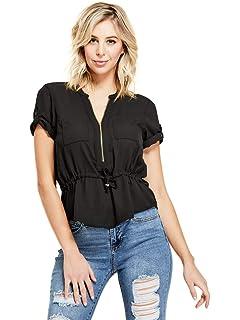 bfce573a9e7e01 GUESS Factory Women s Dina Long-Sleeve Ruffle Front-Tie Peplum Top ...