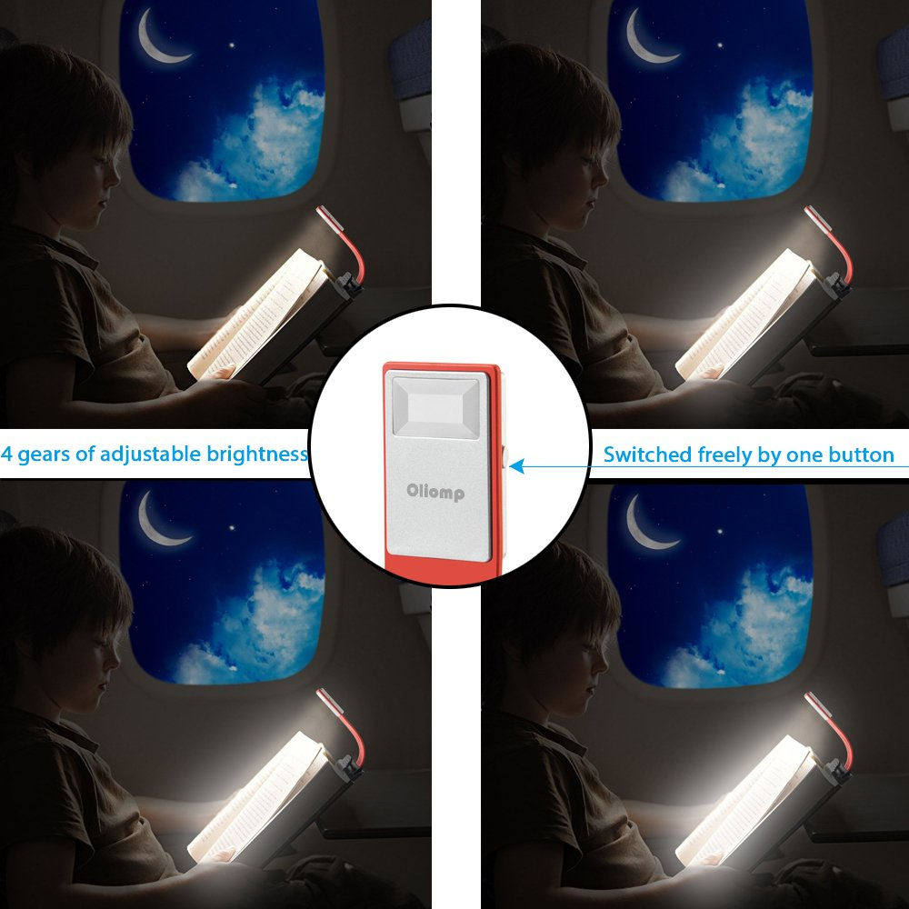 Book Lights Book Light,Oliomp LED Clip Reading Lamp USB Rechargeable Tough Switch 4 Levels Adjustable Brightness Flexible Light Multifunctional as Bookmark Desk&Bed Lamp for Reading with Book Kindle iPad Office Supplies Red