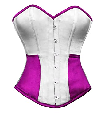 Amazon.com  White Purple Satin Goth Burlesque Waist Training Bustier ... 6cfb0a5cb6f