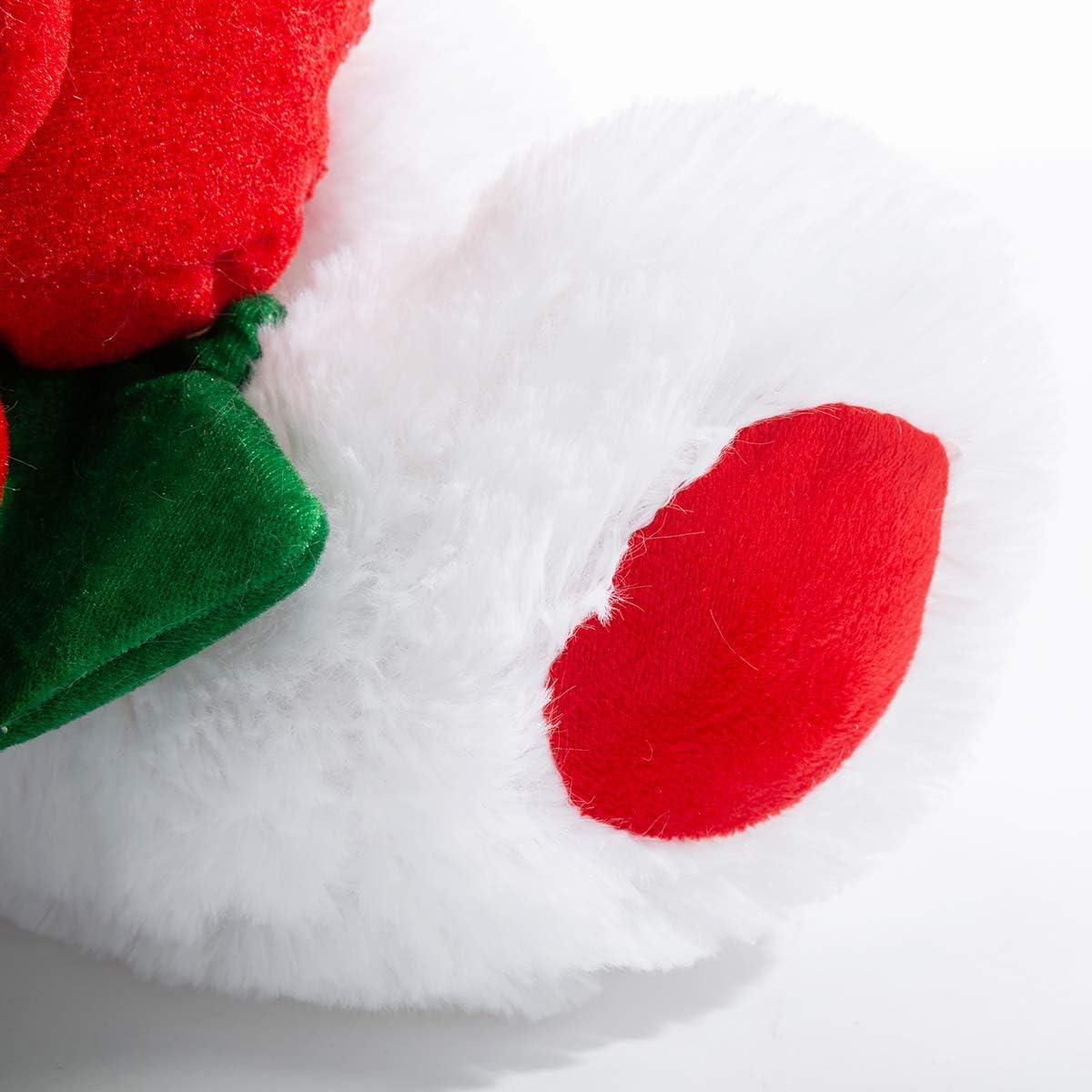 16 Inch White BEJOY Teddy Bear Stuffed Animals Plush Bear Holding Rose Soft Plush Toy Valentines Day