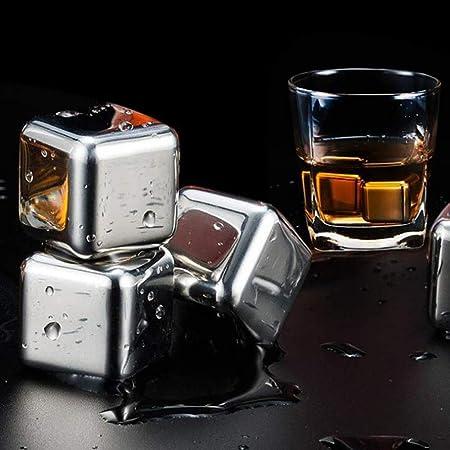 OurLeeme Cubitos de hielo para whisky, piedras de enfriamiento reutilizables Whisky de acero inoxidable Enfriamiento de piedras con pinzas de hielo El mejor regalo para hombres (6PCS)