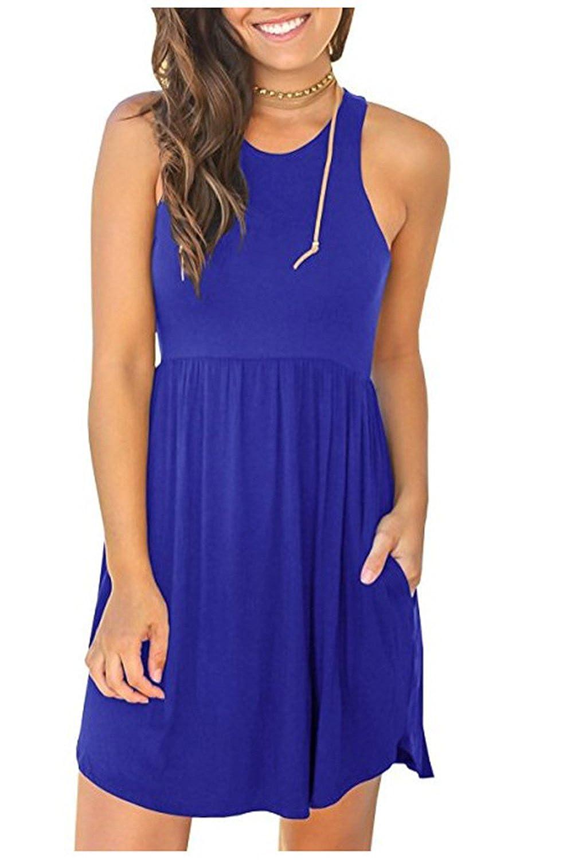MELANSAY Women's Sleeveless Racerback Loose T Shirt Dress Casual Summer Dresses Pockets