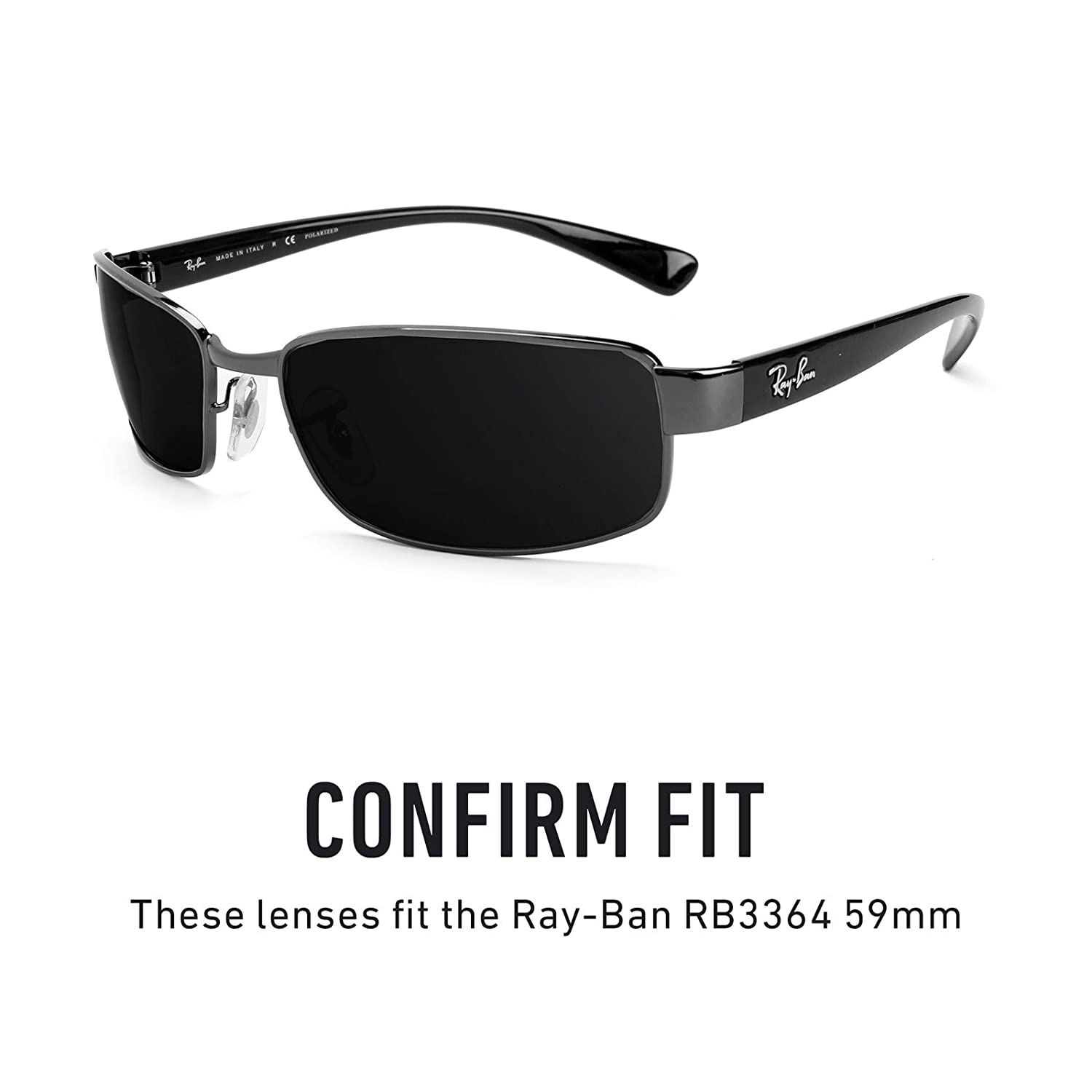 8cd01258d01 Revant Polarized Replacement Lenses for Ray-Ban RB3364 59mm Elite Black  Chrome MirrorShield®  Amazon.co.uk  Clothing
