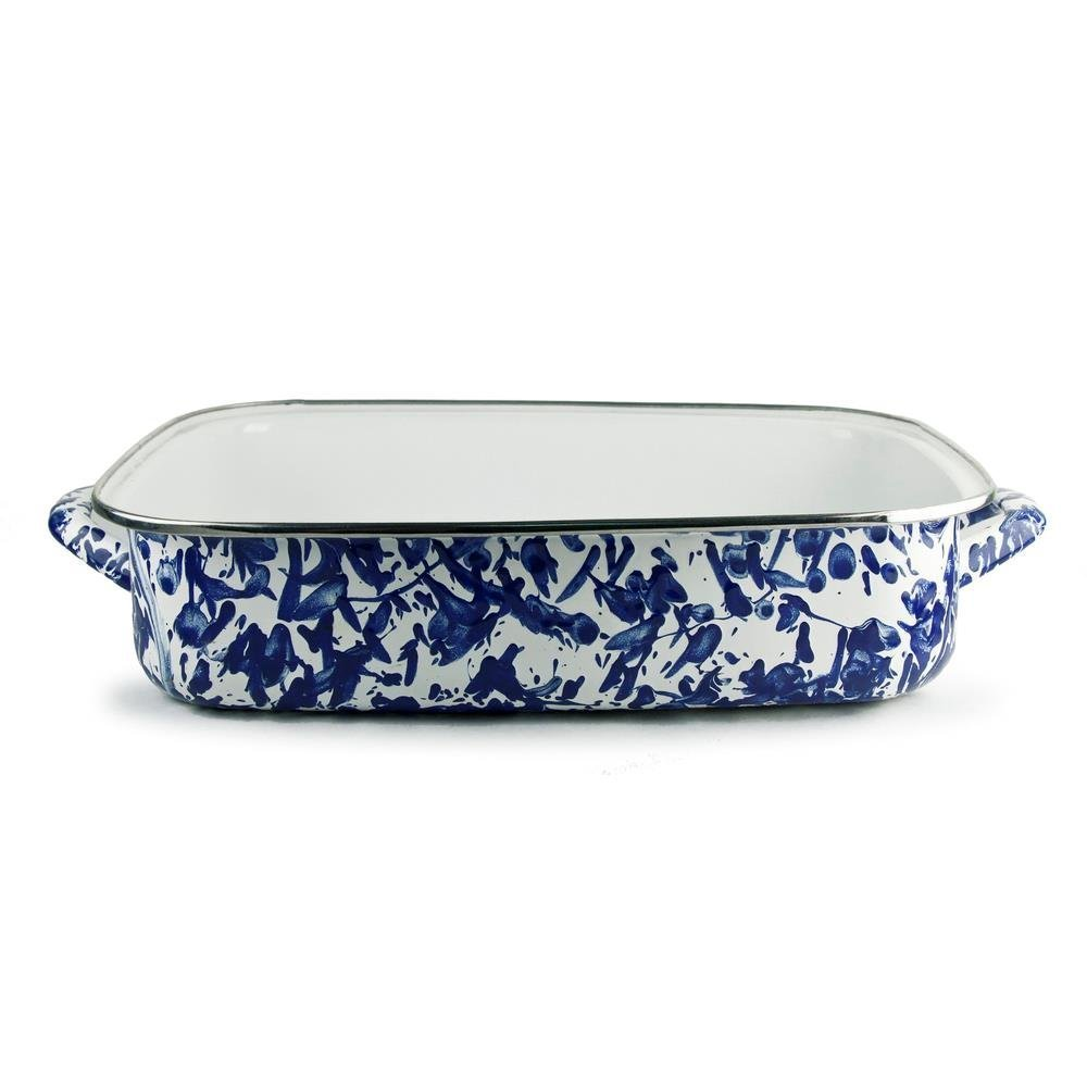 Golden Rabbit Enamelware Cobalt Swirl Lasagna Pan with Swirl Glass Lid 10-1/2 Qt