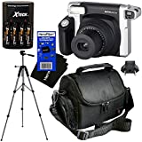 "Fujifilm INSTAX 300 Wide-Format Instant Photo Film Camera (Black/Silver) + 4 AA High Capacity Rechargeable Batteries with Battery Charger + Full Sized 57"" Tripod with Carrying Case + Well Padded Camera Case + HeroFiber Ultra Gentle Cleaning Cloth"