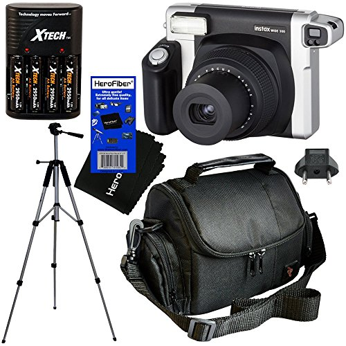 Fujifilm INSTAX 300 Wide-Format Instant Photo Film Camera (Black/Silver) + 4 AA High Capacity Rechargeable Batteries with Battery Charger + Full Sized 57″ Tripod with Carrying Case + Well Padded Camera Case + HeroFiber Ultra Gentle Cleaning Cloth