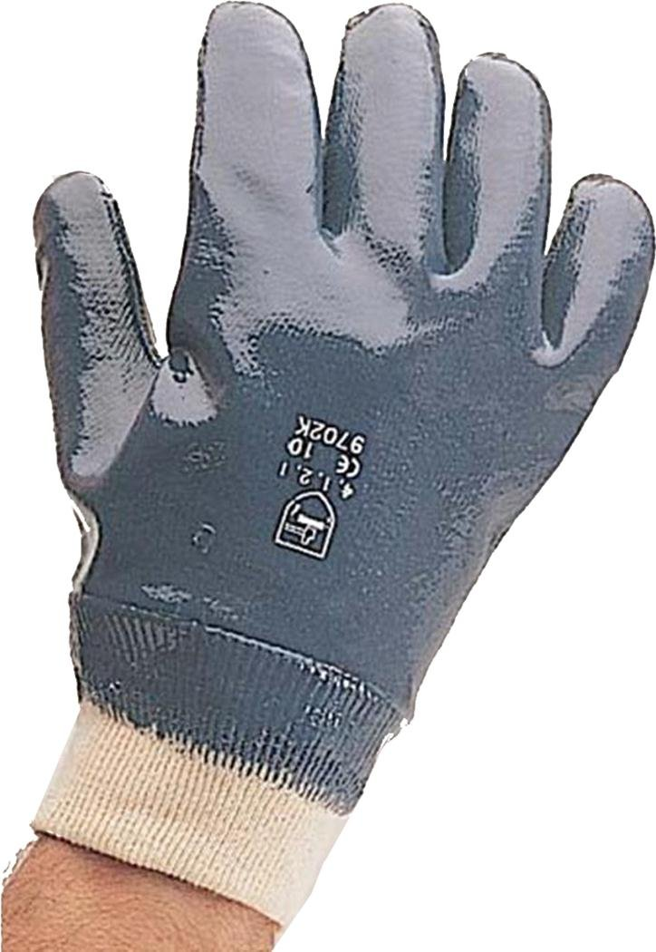Heavy Duty Blue Nitrile Support Knit Wrist Cuff Safety Work Glove Pack Of 12