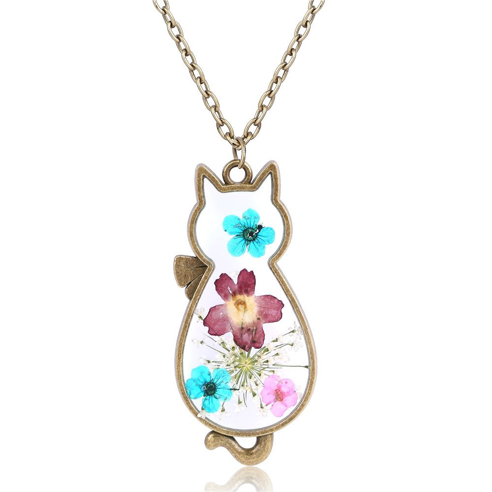 Natural Flower Cat Necklace Costume Jewelry Gift For Women Girl Kids by Mrsrui