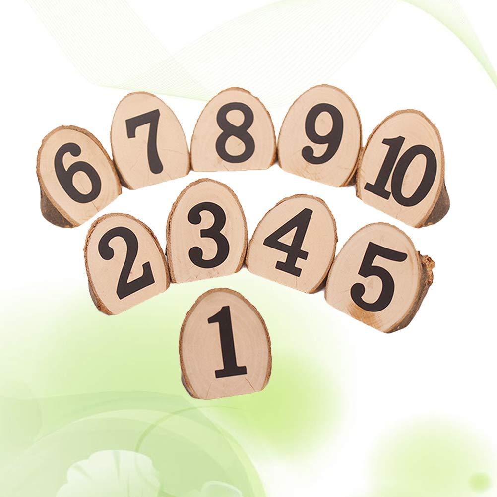 YeahiBaby Numeri Tavolo in Legno Segnaposto Supporto Numero Legno per Decorazione Tavolo Matrimonio 10pcs