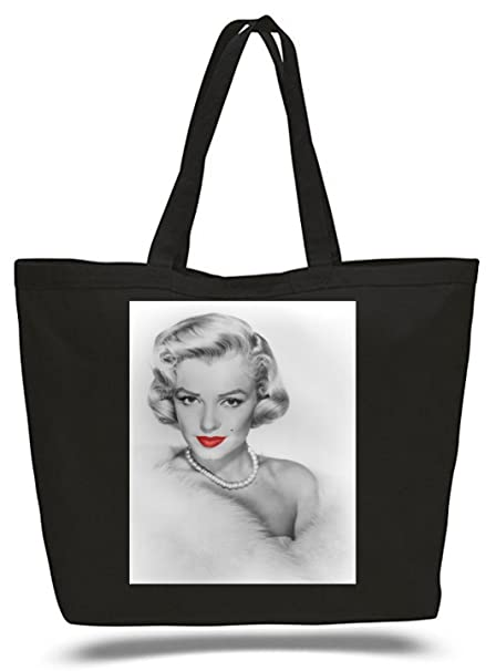 XXL 23 X 17 5 Canvas Cotton Tote Bag Marilyn Monroe Red Lips