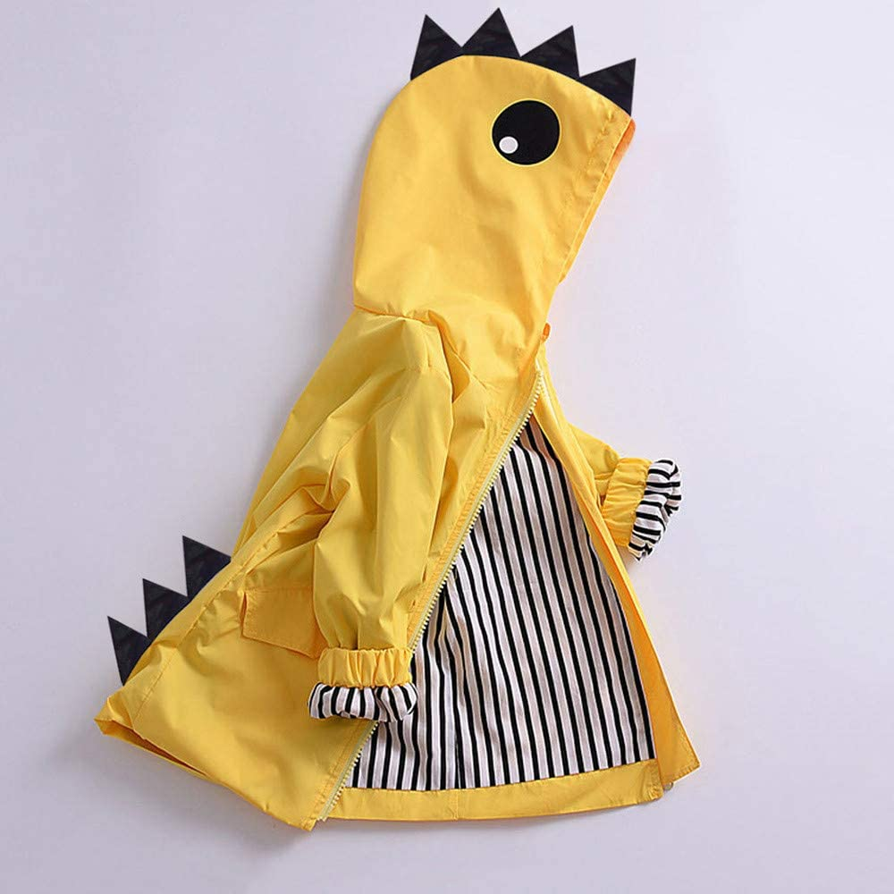 Toddler Raincoat Kids Baby Boy Girl Cartoon Dinosaur Hooded Zipper Clothes Coat Clothing